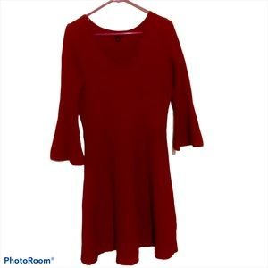 Roz & Ali Bell sleeve knee length red Dress size L